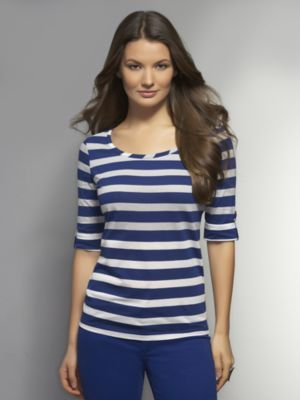 New York & Co. Striped Roll-Tab Scoop-Neck Tee