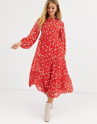 Asos Design DESIGN tiered long sleeve smock maxi dress in floral print-Multi