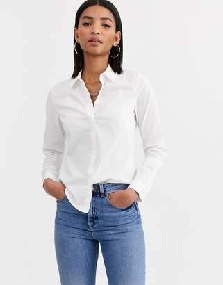 Asos Design DESIGN long sleeve fitted shirt in stretch cotton-White