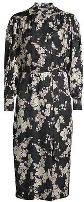 Rebecca Taylor Gabrielle Silk-Blend Long-Sleeve Dress