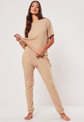 Missguided Camel Rib Mix And Match Loungewear T Shirt