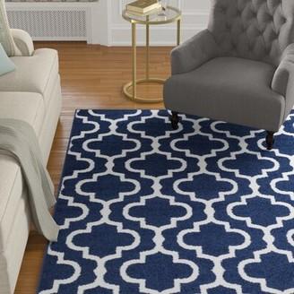 "Charlton Home Solari Trellis Dark Blue Area Rug Rug Size: Rectangle 7'10"" x 10'3"""