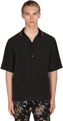 Martine Rose Tech Bowling Shirt W/ Logo Rib Collar
