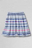 Classic Little Girls Woven Gathered Skirt-White Global Print