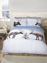 Rapport Reindeer Christmas Novelty Xmas Quilt Duvet Cover and 2 Pillowcase Bedding Bed Set, Multi-Colour, King