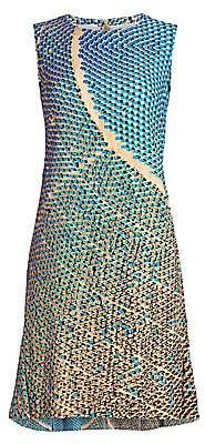 Akris Punto Women's Solar-Print Sleeveless Flounce-Hem Dress