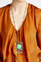 Aurelie Bidermann 18K Gold Plated Necklace with Turquoise Stone