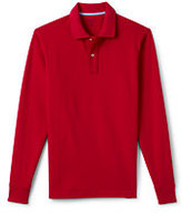 Lands' End Men's Long Sleeve Solid Mesh Polo Shirt-Classic Cherry