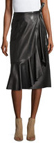 Helmut Lang Leather Ruffle A-Line Midi Skirt, Black
