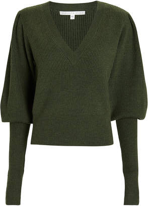 Veronica Beard Esme Puffed Sleeve Merino Wool Sweater