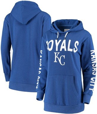 G Iii Women's G-III 4Her by Carl Banks Royal Kansas City Royals Extra Inning Colorblock Pullover Hoodie