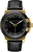 Sean John Men's Black Diamond Collection Diamond Accent Black Leather Strap Watch 49mm 10030887