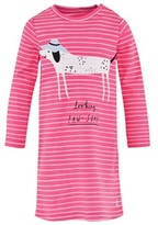 Joules Pink Neon Stripe Jersey Dog Applique Dress