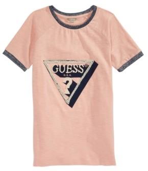 GUESS Big Girls Cotton Embellished Logo T-Shirt