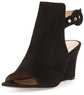 Gianvito Rossi Suede Peep-Toe Ankle-Wrap Wedge, Black