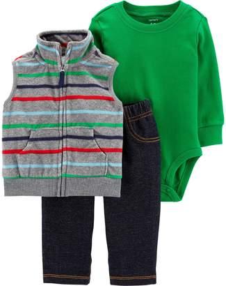 Carter's Baby Boy Striped Vest, Bodysuit & Jeggings Set