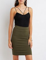 Charlotte Russe Strappy Lace Bustier Crop Top