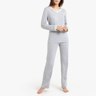 La Redoute Collections Long-Sleeved Pyjamas with Lace Details