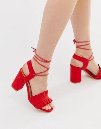 Truffle Collection ruffle tie leg heeled sandals
