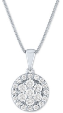 """Forever Grown Diamonds Forever Grown Diamond Lab Grown Diamond Cluster Circular 18"""" Pendant Necklace (1/2 ct. t.w.) in Sterling Silver"""