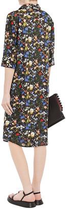 R 13 Floral-print Cotton-poplin Midi Shirt Dress