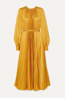 Oscar de la Renta Pleated Satin-crepe Midi Dress - Saffron