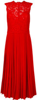 Valentino heavy lace pleated midi dress - women - Cotton/Polyamide/Viscose/Virgin Wool - 40