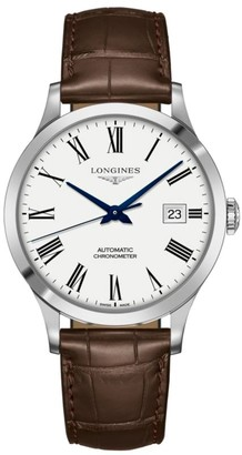 Longines Record 40MM Alligator-Strap Automatic Watch