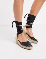 Asos Design DESIGN Turner tie leg espadrille demi wedges in black