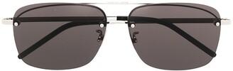Saint Laurent Square-Frame Logo Sunglasses