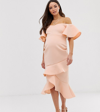 True Violet Maternity bardot pencil dress in scuba with frill hem in peach