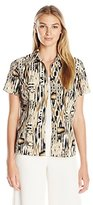 Notations Women's Short Sleeve Printed Blouse with Solid Inset