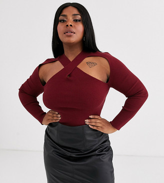 ASOS DESIGN Curve cut out cross over front ribbed jumper