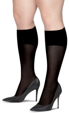 Hanes Plus Size 2-Pk. Curves Opaque Knee Socks