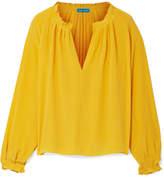 MiH Jeans Sidi Shirred Silk Blouse - Saffron