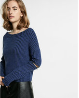 Express elbow zip destroyed edge pullover sweater