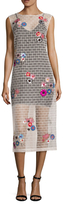 Nicole Miller Flower Bricks Embroidered Dress
