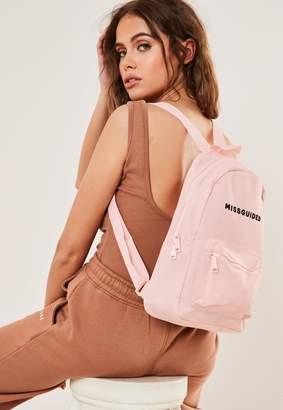 Missguided Pink Branded Rucksack