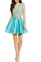 Jodi Kristopher Lace Top to Satin Skirt Two-Piece Dress