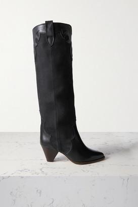 Isabel Marant Litz Leather-trimmed Suede Knee Boots - Black
