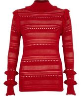 River Island Womens Red pointelle knit turtle neck jumper