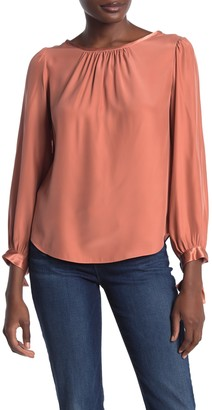 Tailored by Rebecca Taylor Long Sleeve Bow Cuff Silk Blouse
