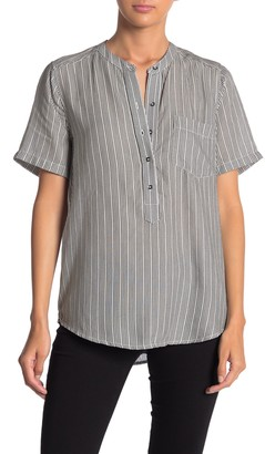Lucky Brand Striped High/Low Woven Blouse