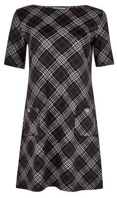 Dorothy Perkins Womens **Tall Black And Grey Checked Shift Dress, Black