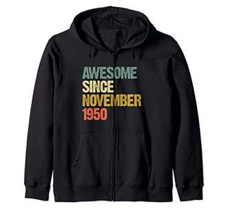 Awesome Since November 1950 69 Years Old 69th Birthday Gift Zip Hoodie