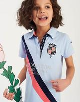 Joules Girls Badminton Classic Embroidered Polo Shirt in Sky Blue