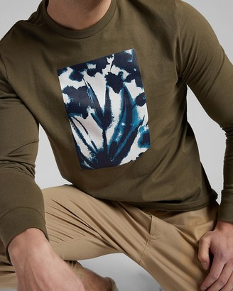 Express Olive Floral Long Sleeve Graphic T-Shirt
