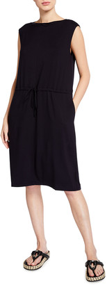 Eileen Fisher Bateau-Neck Jersey Shift Dress with Pockets