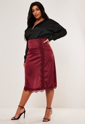 Missguided Plus Size Burgundy Lace Trim Satin Slip Skirt