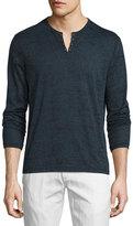 John Varvatos Eyelet Burnout Henley T-Shirt, Blue Heather